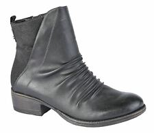 Ladies Womens Low Block Heel Inside Zip Ruched Ankle Boots Shoes Size 3-8