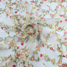 Allover Embroidered Floral Gauze Lace Net Fabric Dress Making 140cm Wide BY YARD