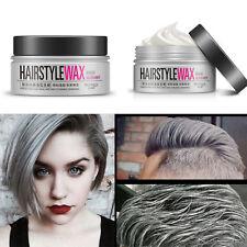 Pro Unisex Silver Grey Hair Wax,Hair Model Pomade Gel Mud Long-lasting Hairstyle