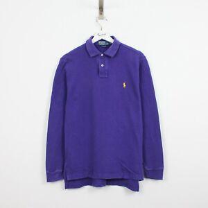 AB60 Vtg Ralph Lauren Polo Men Purple Long Sleeve Cotton Shirt Custom Fit Size S