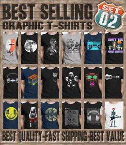 GRAPHIC RETRO Mens ORGANIC T-Shirts 80s Music Guitar Art Space Novelty Slogan