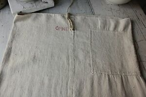 Antique French GRAIN SACK olive bag early 19th / 18th century PRIMITIVE TIMEWORN