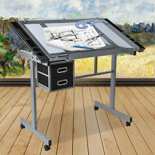 Modern Adjustable Drafting Drawing Craft Table Art Glass Desk with Drawers