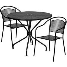 35.25'' Round Black  Indoor-Outdoor Patio Restaurant Table Set w/2 Metal Chairs