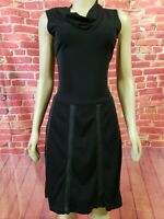 BCBG Max Azria Black Cowl  neck Sleeveless Dress W/ Leather  trim - size Small