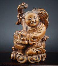 Chinese Wood Statue Of Taoist Boy Immortal