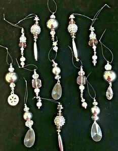 Sparkly Crystal and Acrylic hanging Christmas Tree Decorations Handmade 13 pack