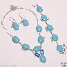 Rare sleeping beauty turquoise necklace bracelet earring set .925 silver