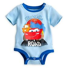 DISNEY STORE CARS LIGHTNING MCQUEEN TOW MATER CUDDLY BODYSUIT NWT BABY 0/3 MOS