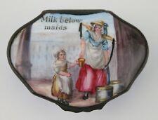 Staffordshire enamel snuff box. 'Milk below Maids'. Cries of London. c1800