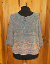 M&S slate blue coral mauve yellow floral chiffon 3/4sleeve tunic top blouse46 18