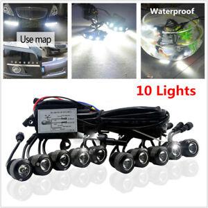 Upgraded Multi-functional Meteor Shower LED Daytime Running Lamp DRL 10 Lights