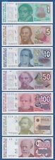 ARGENTINIEN / ARGENTINA 1 bis 1000 Australes (1985-90) UNC 7 Banknoten