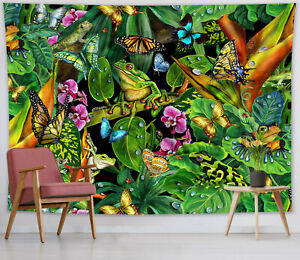 Green Tropical Jungle Tapestry Butterfly Frog Wall Hanging Home Bedspread Cover