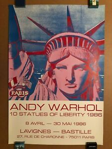 ANDY WARHOL 10 STATUES OF LIBERTY ORIGINAL 1986 PARIS EXHIBITION POSTER SCARCE!