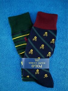 Polo Ralph Lauren Skull Crossbones & Stripe Design Mens Dress Socks 2 Pairs New