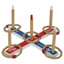 Premium Pine Wood Ring Toss Game Outdoor Home Party Game Set W/ Case & 5 Rings