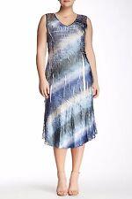 NWT KOMAROV Petite Crinkle Tie Dye Lace Trim Sleeveless V-Neck Midi Dress PL