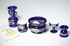 Japanese Buddhist altar fittings 6 pcs set Lotus Lapis lazuli Ultramarine Japan