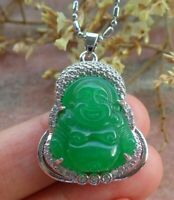 White Gold Plate Green JADE Pendant Buddha Necklace Diamond (Imitation) 100856