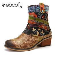 SOCOFY Women Retro Cow Leather Comfy Metal Buckle Zipper Flat Short Ankle
