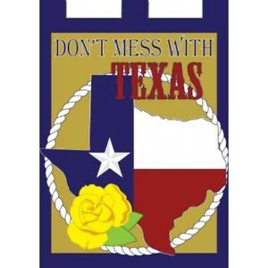 """Don't Mess With Texas Yellow Rose-House Flag-Double Sided Appliquéd-29""""x42"""""""