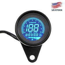 Black LCD Digital 12V Universal Motorcycle Gauge Speedometer Tachometer Odometer