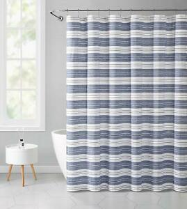 Chambray Blue and White Fabric Shower Curtain: Striped with Detailed Decorative
