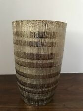 "unbranded shiny metallic striped 7.5"" height 5"" diameter vase"