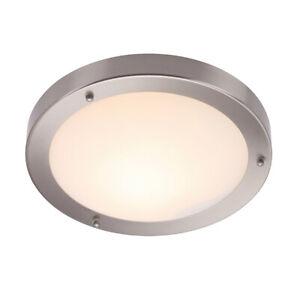 SAXBY Bathroom Flush 300mm Ceiling Light Satin Nickel Frosted Glass E27 60W IP44