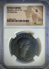 Claudius Æ Sestertius, NGC GOOD