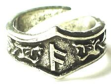 ANSUZ Viking Dragon Head Rune Ring ,God, Knowledge, Letter 'A'. Adjustable