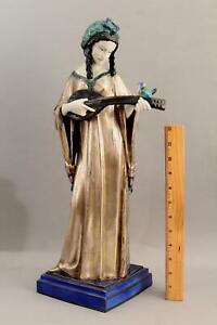 Large Antique Austrian SECESSIONIST Majolica Pottery Sculpture Woman w/ Mandolin