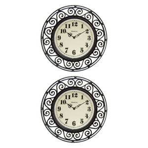 Westclox Wall Clock Wrought Iron Look Style 32021A Round 12 inch Analog, 2-Pack