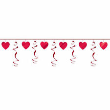 Red foil Hearts & Swirls Garland Party Decoration Valentines Day Banner Bunting