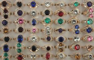 Wholesale Lots 50pcs Rose Gold P Mixed Cubic Zirconia Rhinestone Lady's Rings