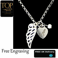 Heart Guardian Angel wing Personalised Engraved Name Necklace Silver Plated UK