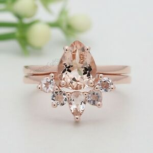 Peach Pear Morganite Stone Ring Set 14K Solid Gold Engagement Gift Ring GR411