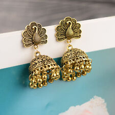ee43c87ca Vintage Gold Peacock Tassel Ethnic Gypsy Earrings Jhumka Bell Wedding Indian
