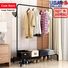 200lb Heavy Duty Garment Rack Commercial Rolling Clothing Collapsible Rack Shelf