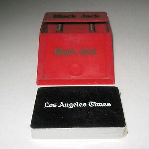 Vintage Red Black Jack 21 Card Dealer Shoe Dispenser Deck L.A. Times Cards