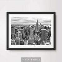 NEW YORK CITYSCAPE ART PRINT POSTER Home Decor Black White Buildings A4 A3 A2