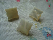 3 Vintage Square  Shape Mother of Pearl Buttons - Carved Pattern
