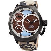 Men's Joshua & Sons JX131BR Triple Time Zone Moon Phase Quartz Camouflage Watch