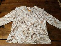 Ruby Rd. Women's Size PM Brown Animal Print Embellished V Neck 3/4 Sleeve Top