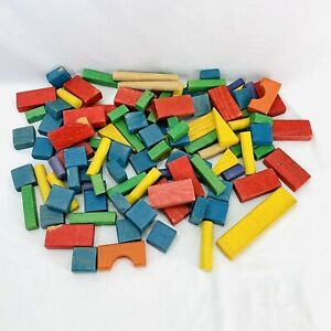 Vintage Colorful Wooden Building Blocks Mixed Shapes Kids Toys Lot of 106 pieces