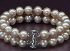 "2 rows 9-10mm south sea round lavender pearl bracelet 7.5-8"" Y3389"