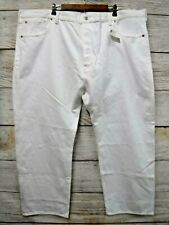 Levi's 501 Jeans Mens 50X30 White Original Straight Leg Button Fly Cotton New