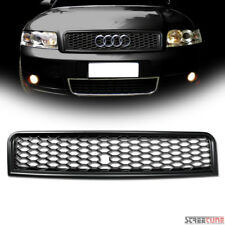 Matte Black Rs4 Style Honeycomb Mesh Bumper Grille+Logo Base For 02-05 A4 S4 B6