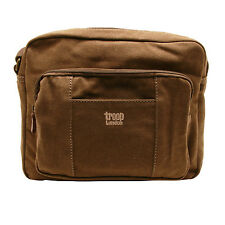 Troop London - Brown Canvas Classic Body/Messenger Bag with Leather Trim